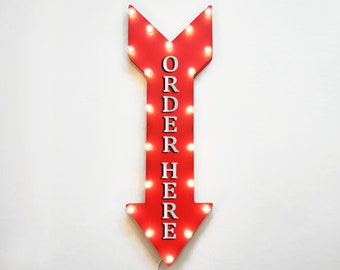 """On Sale! 36"""" ORDER HERE Metal Arrow Sign - Plugin, Battery or Solar - Pick Up Only Here To Go Take Out - Rustic Marquee Light Up Sign"""