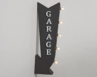 """On Sale! 25"""" GARAGE Metal Arrow Sign - Work Workshop Repair Fix - Plugin Battery Operated Rustic led Double Sided Rustic Marquee Light Up"""
