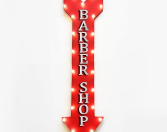"""On Sale! 48"""" BARBER SHOP Metal Arrow Sign - BarberShop Parlor Haircut Haircuts Hair - Plugin or Battery Operated led Rustic Light Up Marquee"""