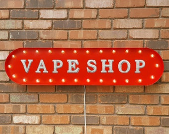 """On Sale! 39"""" VAPE SHOP Metal Oval Sign - Smoke Smoking Store - Vintage Style Rustic Marquee Light Up"""