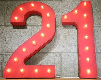 "On Sale! 21"" 21 Metal Sign - 21st Bday Birthday Party Numbers Free Standing or Hang - Rustic Vintage Style Marquee Light Up Numbers"