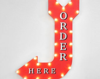 """On Sale! 36"""" ORDER HERE Metal Arrow Sign - Pay Here Pick Up To Go Food Meal - Double Sided Suspended - Rustic Marquee Light Up"""