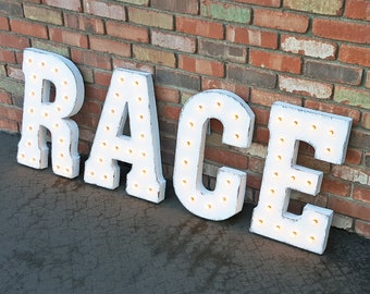 ON SALE! RACE Run Running Jog Walk Racing Racer Car Free Standing or Hang Rustic Metal Vintage Style Marquee Sign Light Up Letters 24 Colors