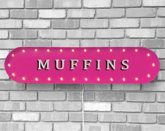 "On Sale! 39"" MUFFINS Metal Oval Sign - Pastries Cake Treats Sweets Bakery Cafe Food - Vintage Style Rustic Marquee Light Up"
