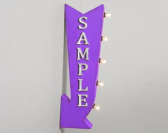 """On Sale! 25"""" YOGURT Dessert Sweet Yum Dairy Plugin or Battery Operated Rustic led Double Sided Rustic Metal Arrow Marquee Light Up Sign"""