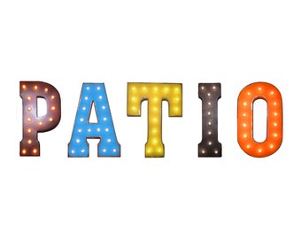 """On Sale! 21"""" PATIO Metal Sign - Plugin, Battery or Solar - Porch Deck Courtyard Sit Relax - Rustic Vintage Style Marquee Light Up Letters"""