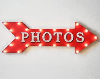"On Sale! 36"" PHOTOS Metal Arrow Sign - Plugin or Battery Operated Led - Photo Booth PhotoBooth Photography Smile - Rustic Marquee Light up"