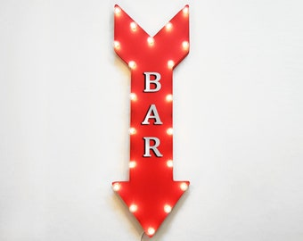 """On Sale! 36"""" BAR Metal Arrow Sign - Plugin, Battery or Solar - Cocktails Drinks Order Up Brewery Top Shelf - Rustic Marquee Light Up Sign"""
