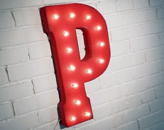 "On Sale! 21"" Letter P Metal Sign - Rustic Vintage Style Custom Marquee Light Up Alphabet Letters"