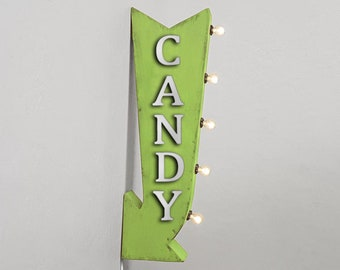 """On Sale! 25"""" CANDY Metal Arrow Sign - Sweets Sweet Sugar Treats - Plugin or Battery Operated Rustic led Double Sided Rustic Marquee Light Up"""