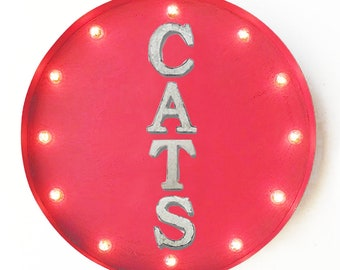 "On Sale! 20"" CATS Round Metal Sign - Plugin or Battery Operated - Cat Dog Dogs Animal Pet Pets Feline - Rustic Vintage Marquee Light Up"
