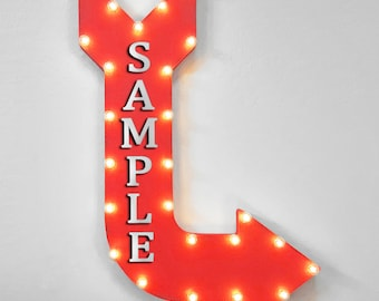 """On Sale! 36"""" CUSTOM Metal Arrow Sign - Plugin or Battery Operated - Personalized Name - Rustic Marquee Light up"""