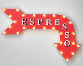 "On Sale! 36"" ESPRESSO Metal Arrow Sign - Plugin, Battery or Solar - Coffee Shop Bar Expresso Hot Mocha Caffeine - Rustic Marquee Light Up"