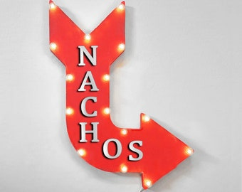 "On Sale! 24"" NACHOS Curved Metal Arrow Sign - Chips Cheese Beef Dip Snack Mexican Food - Rustic Vintage Marquee Light Up"