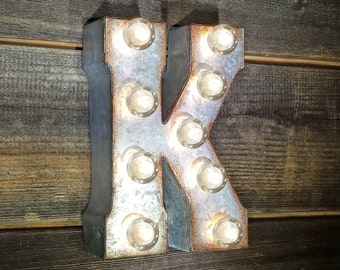 "On Sale! 7"" Letter K - Metal Sign - Plugin - Small Rustic Marquee LED Alphabet Light Up"