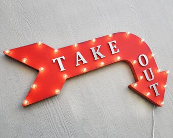 """On Sale! 36"""" TAKE OUT Metal Arrow Sign - Plugin or Battery Operated - Pick Up Food To Go TakeOut - Rustic Marquee Light up"""
