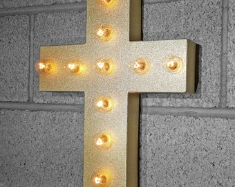"ON SALE 15"" CROSS Battery Operated Church Holy Religious Crucifix Metal Marquee Light Up Sign - 21 colors!"