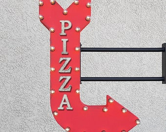 "On Sale! 36"" PIZZA Metal Arrow Sign - Italian Restaurant Pizzeria Restaurant - Double Sided Hang or Suspend - Rustic Marquee Light Up"