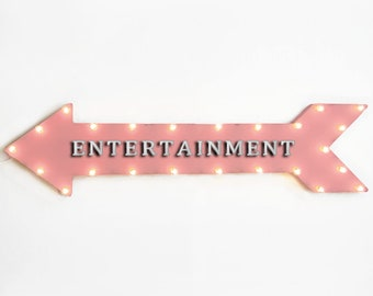 """On Sale! 48"""" ENTERTAINMENT Metal Arrow Sign - Games Movies Play Area - Plugin or Battery Operated led Rustic Light Up Marquee"""