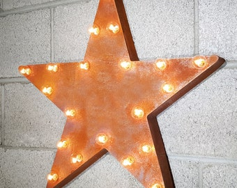 """ON SALE! 21"""" STAR Battery Operated Led Christmas Retro Nostalgic Rustic Metal Vintage Inspired Marquee Light Up Sign Holiday - 23 Colors!"""