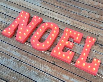 """On Sale! 21"""" NOEL Metal Sign - Plugin, Battery or Solar - Christmas Joy Santa Holiday Xmas - Rustic Vintage Style Marquee Light Up Letters"""
