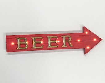 """ON SALE! 21"""" BEER Wood Battery Operated led Rustic Wooden Bar Pub Drinks This Way Open Brewery Garden Arrow Marquee Light Up Sign"""