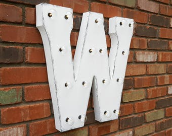 """On Sale! 21"""" Letter W Metal Sign - Battery Operated - Rustic or Non-Rustic - Custom Vintage Style Marquee Steel LED Light Up"""