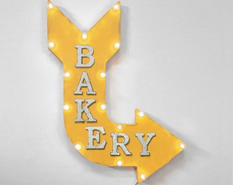 """On Sale! 24"""" BAKERY Curved Metal Arrow Sign - Bake Baking Cook Pastry Bread Bagel Doughnut - Rustic Vintage Marquee Light Up"""