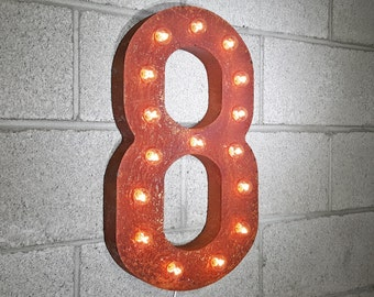 """On Sale! 21"""" 8 Metal Sign - Number 8 Eight Ocho 0 1 2 3 4 5 6 7 8 9 Free Stand or Hang - Rustic Vintage Marquee LED Light Up"""