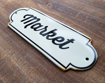 On Sale! - Farmers MARKET Metal Vintage Antique Porcelain Style Door Sign Plaque