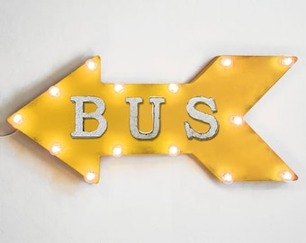 "On Sale! 24"" BUS Straight Arrow Sign - Buses Stop School Station Ride Yellow - Rustic Vintage Marquee Light Up"