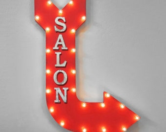 "ON SALE! 36"" SALON Double Sided Hanging Suspended Hang Barber Shop Hair Beauty Salon Rustic Metal Marquee Light Up Sign Arrow 14 Colors"