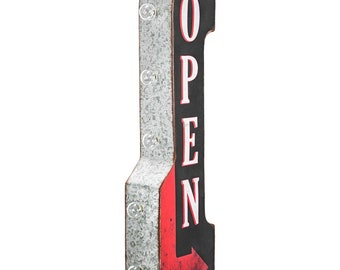 On Sale! OPEN Metal Sign - BATTERY OPERATED - Entrance Enter Come In Welcome - Double Sided Rustic Vintage Style Marquee Light Up