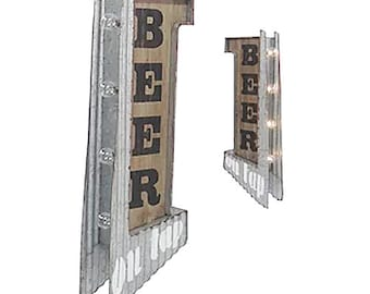 On Sale! BEER Metal Sign - BATTERY OPERATED - Man Cave Bar - Double Sided Rustic Vintage Style Marquee Light Up