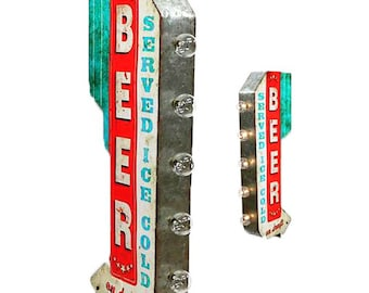 On Sale! BEER Metal Sign - BATTERY OPERATED - Served Ice Cold Market Bar Store - Double Sided Rustic Vintage Marquee Light Up