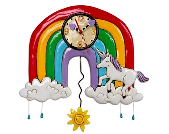 CLEARANCE - Rainbows & Unicorns - Whimsical Colorful - Animated Pendulum Wall Clock