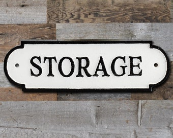 On Sale! - STORAGE Sign Solid Cast Iron Metal Vintage Antique Style Entry Door Sign Plaque