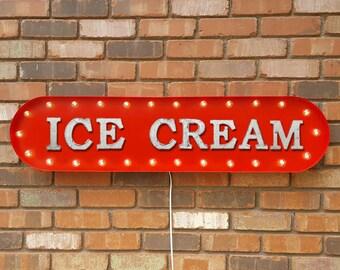 "ON SALE! 39"" ICECREAM Ice Cream Frozen Froze Yogurt Snow Cone Sweet Treats Vintage Style Rustic Metal Marquee Light Up Sign - 22 Colors!"