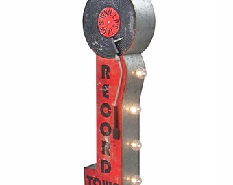 On Sale! RECORD TOWN Metal Sign - Battery Operated - Vinyl LP Tape Open - Double Sided Rustic Vintage Style Marquee Light Up