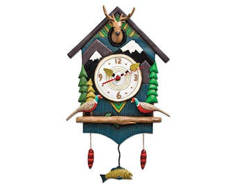 CLEARANCE - Mountain Time - Deer Head & Pheasants with Mountains Trees Fish - Whimsical Colorful - Animated Pendulum Wall Clock