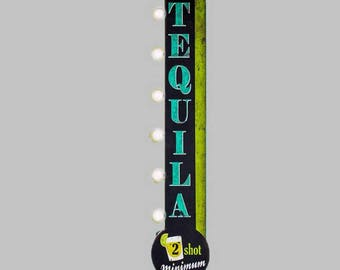 On Sale! TEQUILA Metal Sign - BATTERY OPERATED - Cocktails Shots Bar Brewery - Double Sided Rustic Vintage Style Marquee Light Up