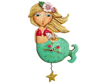 CLEARANCE - Shelley the Mermaid with Starfish - Whimsical Colorful - Animated Pendulum Wall Clock