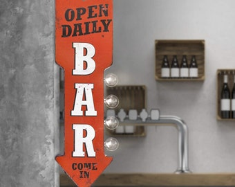 On Sale! BAR Metal Sign - BATTERY OPERATED - Open Daily Come In Cocktails Pub - Double Sided Rustic Vintage Style Marquee Light Up