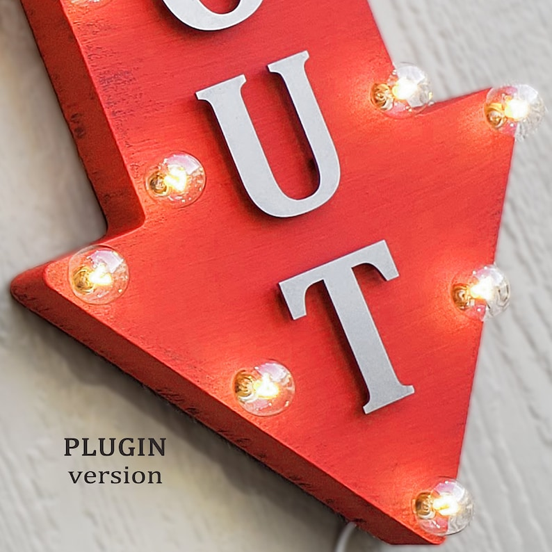 Plugin Battery or Solar 36 HIKING Metal Arrow Sign Rustic Marquee Light Up On Sale Hiking Trail Camp Camping Outdoors Trail Ahead