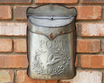 On Sale! Charming Embossed Bird Metal Vintage Antique Style Rustic US Mail Post Box Red Mailbox