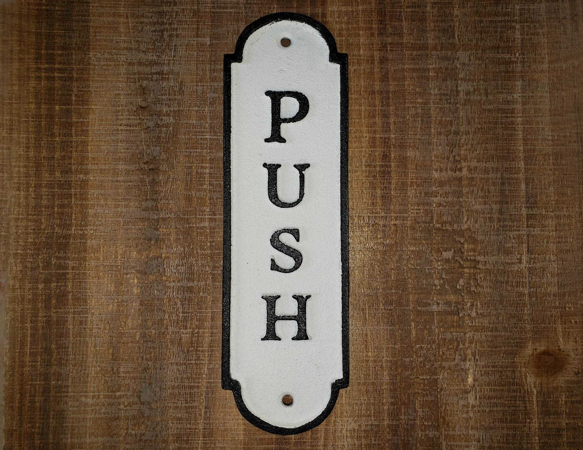 SOLID ANTIQUE STYLE CAST IRON PUSH AND PULL DOOR SIGNS DOOR PLAQUE