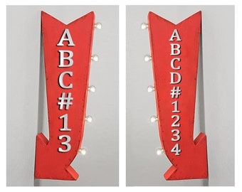 """On Sale! 25"""" CUSTOM Double Sided Metal Arrow Sign - Personalized Customized - Battery Operated - Rustic Vintage Marquee Light Up"""