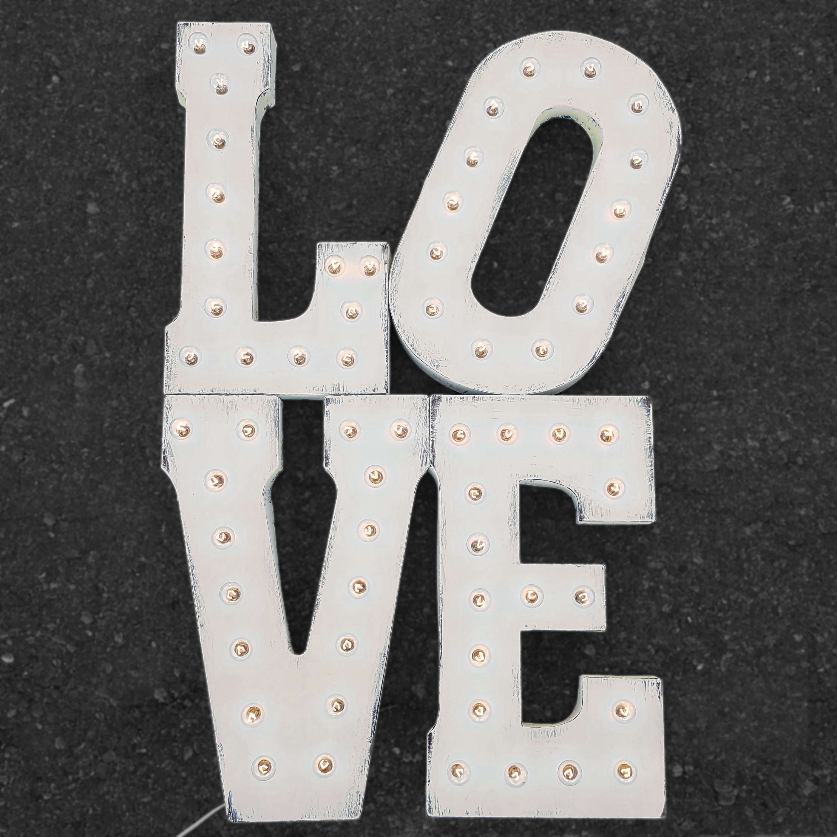 On Sale 42 Tall Love Stacked Metal Light Up Marquee Sign Wedding Reception Prop Rustic Vintage Style Light Up Letters