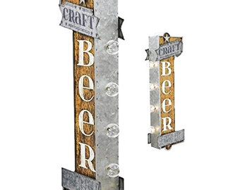 On Sale! BEER Sign Metal - BATTERY OPERATED - Craft Tavern Pub Bar Draft Served Cold - Double Sided Rustic Vintage Style Marquee Light Up