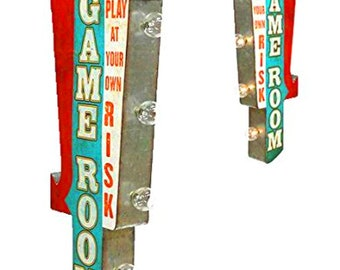 On Sale! GAME ROOM Metal Sign - Battery Operated - Pool Table Hall Games Play - Double Sided Rustic Vintage Style Marquee Light Up